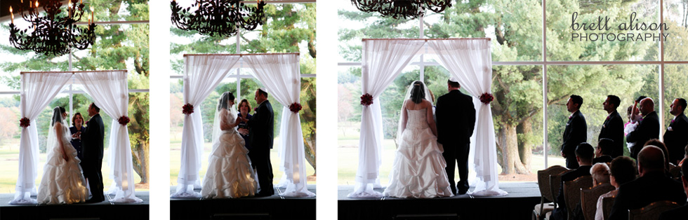wedding ceremony inside the spring valley country club