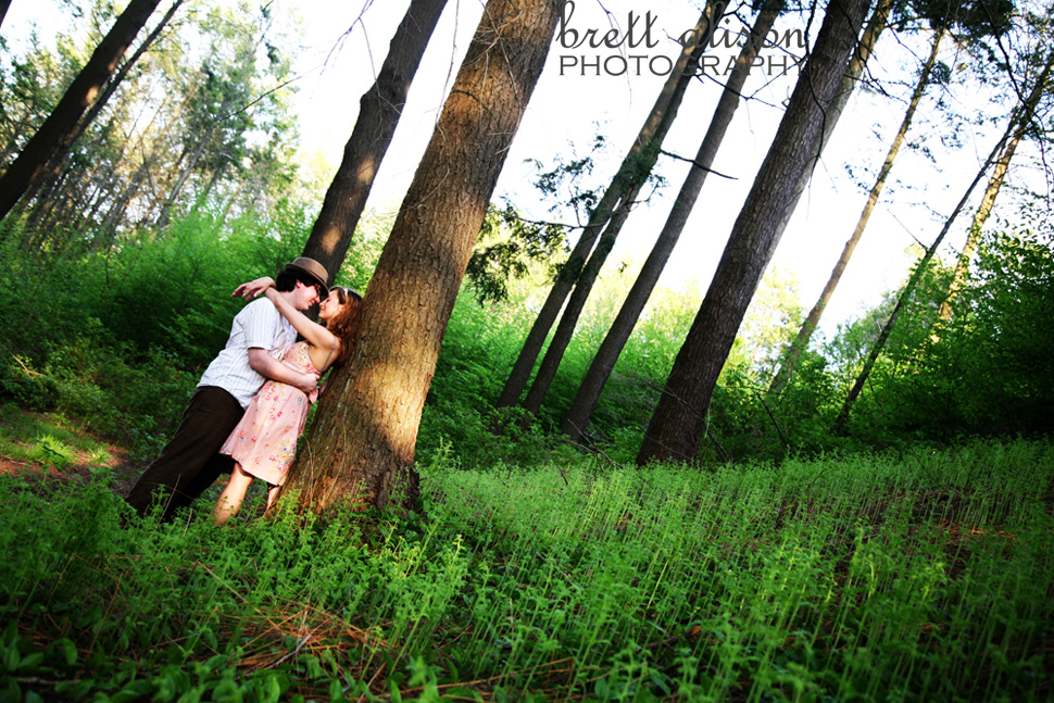 engagement photos in forest at arnold arboretum