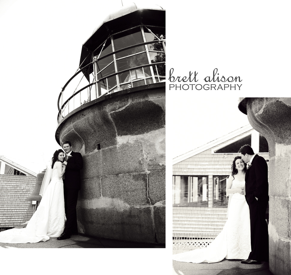 lighthouse photos outside of cohasset on the water of bride and groom