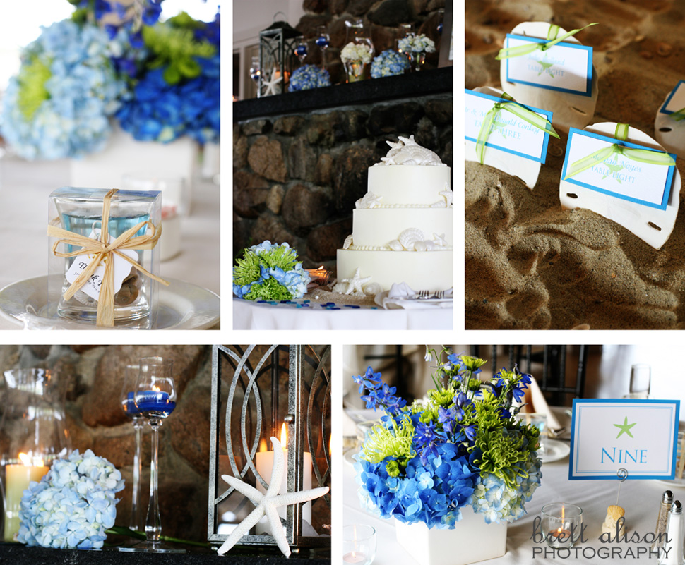 beach wedding details - sand dollar placecards, starfish, blue and green flowers for centerpieces