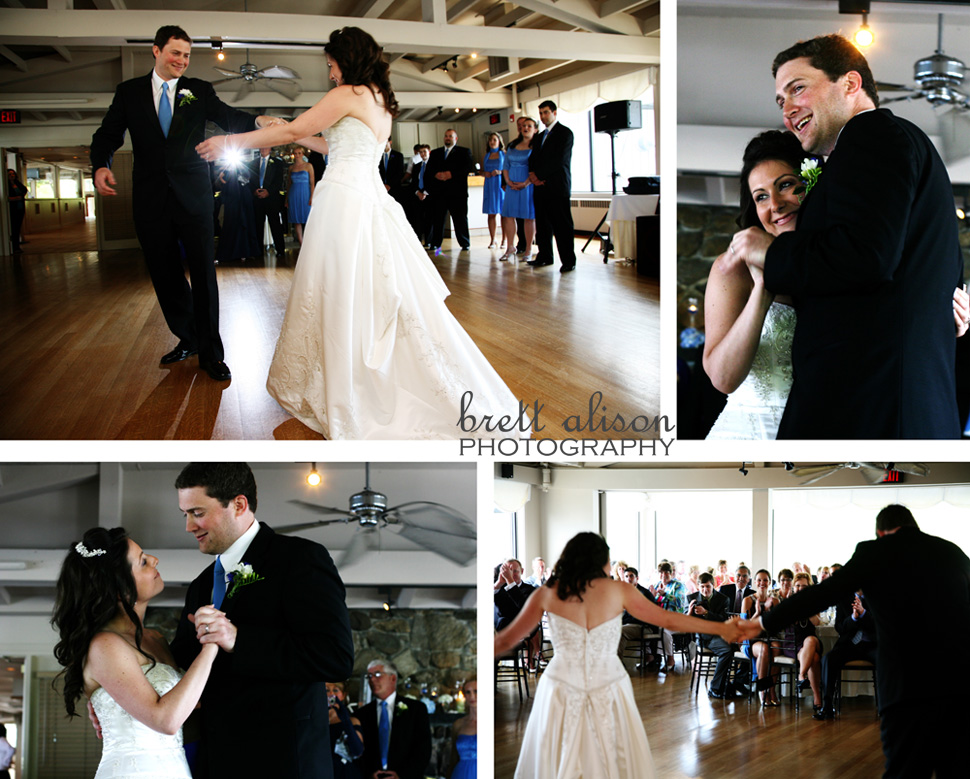 bride and groom first dance at their wedding reception at the atlantica cohasset