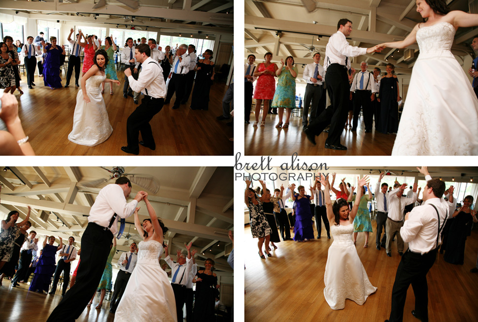bride and groom dancing to shout!
