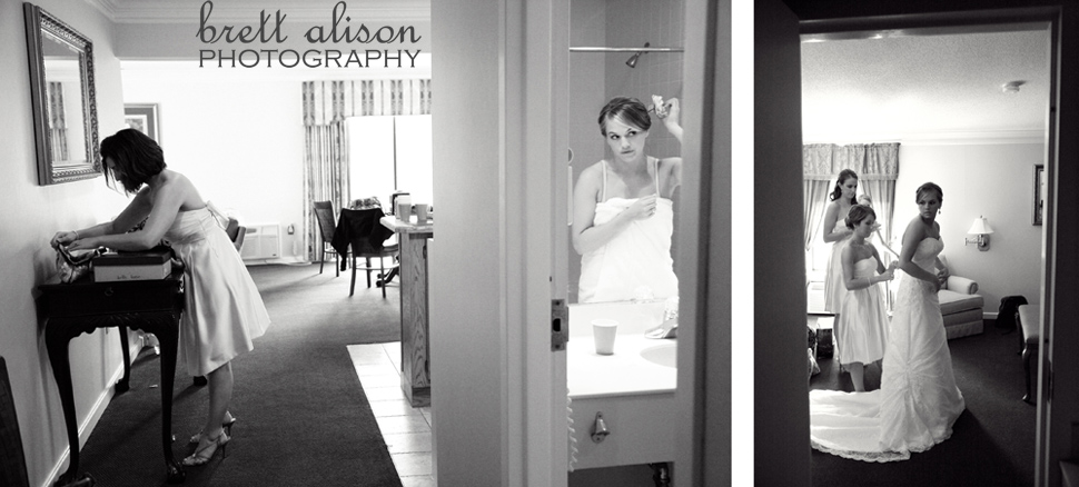 bride getting ready at andover country club
