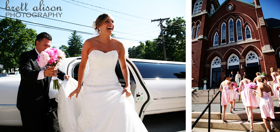 bride arriving at st. augustine's church in andover mass