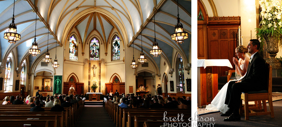 wide angle of church during ceremony