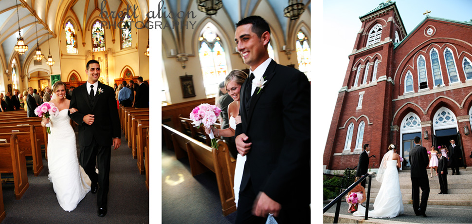 after the wedding ceremony at st. augustine's andover, massachusetts wedding photographer