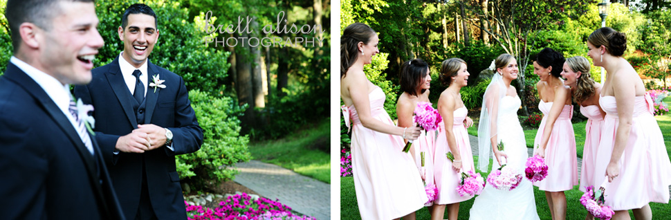 wedding party laughing at andover country club