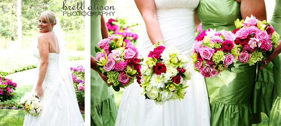 bouquet details - pink and green