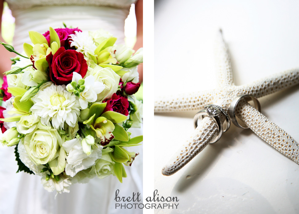 ring details on starfish, bride bouquet