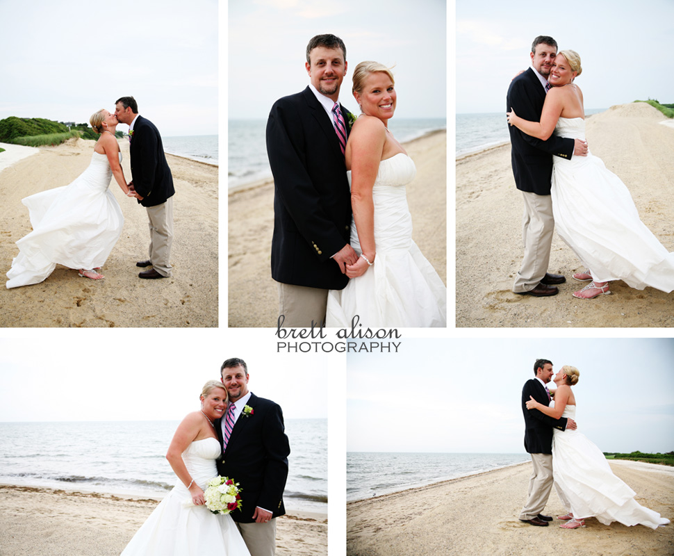 bride and groom on beach at new seabury