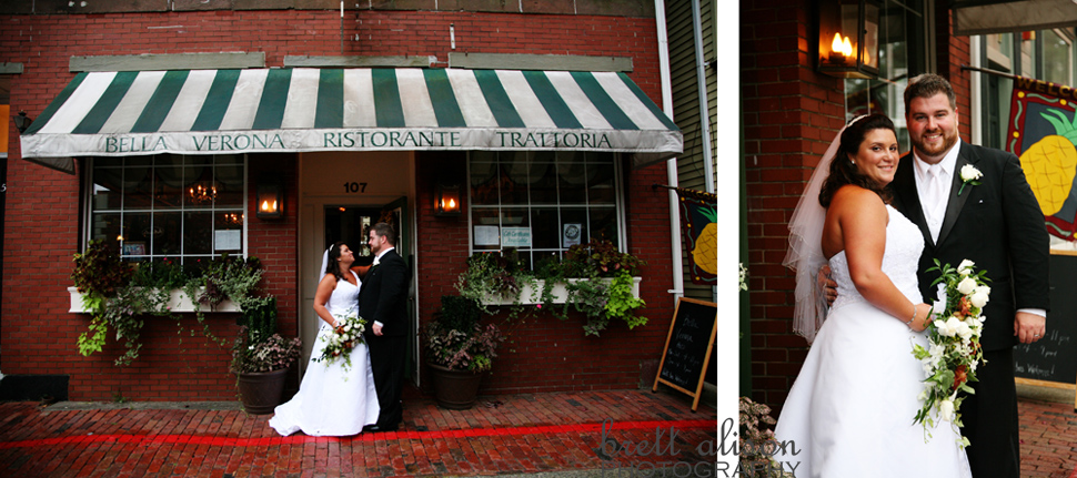 bride and groom outside bella verona salem mass