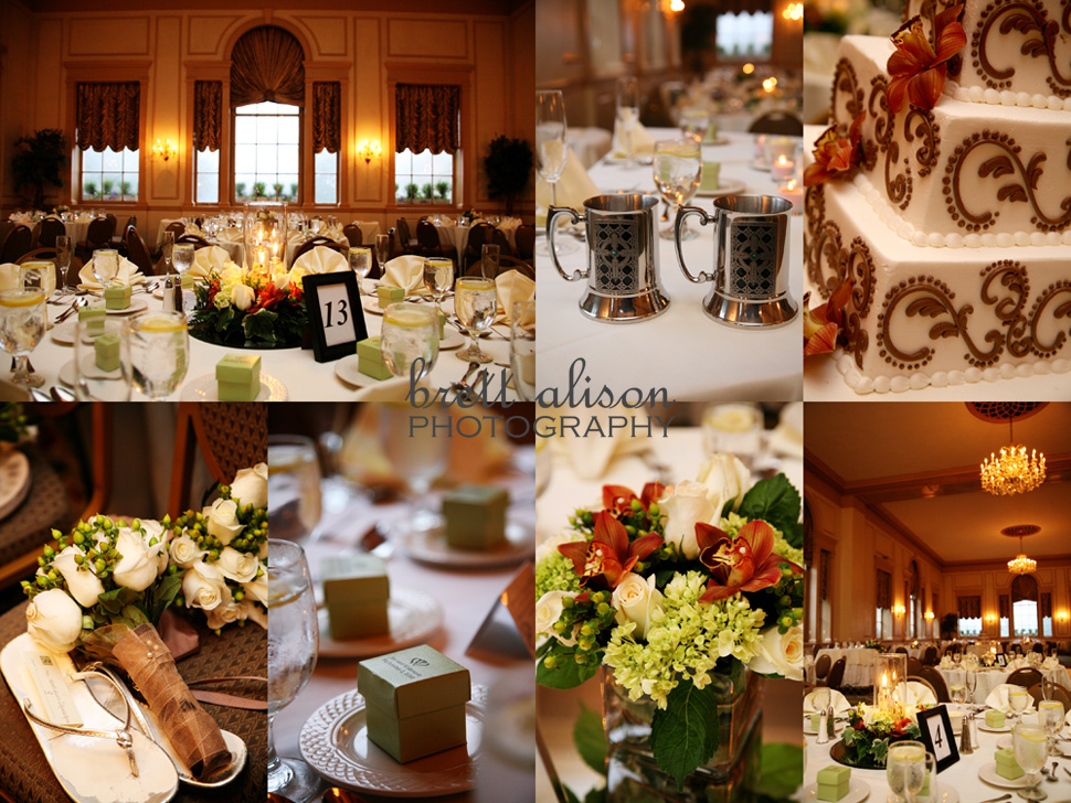 details of reception room, favors wedding cake, bride and groom mugs