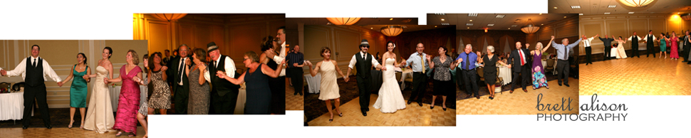 panoramic shot of guests dancing