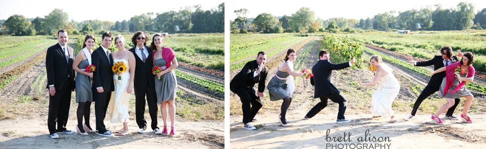 wedding party in front of crops at verrill farm