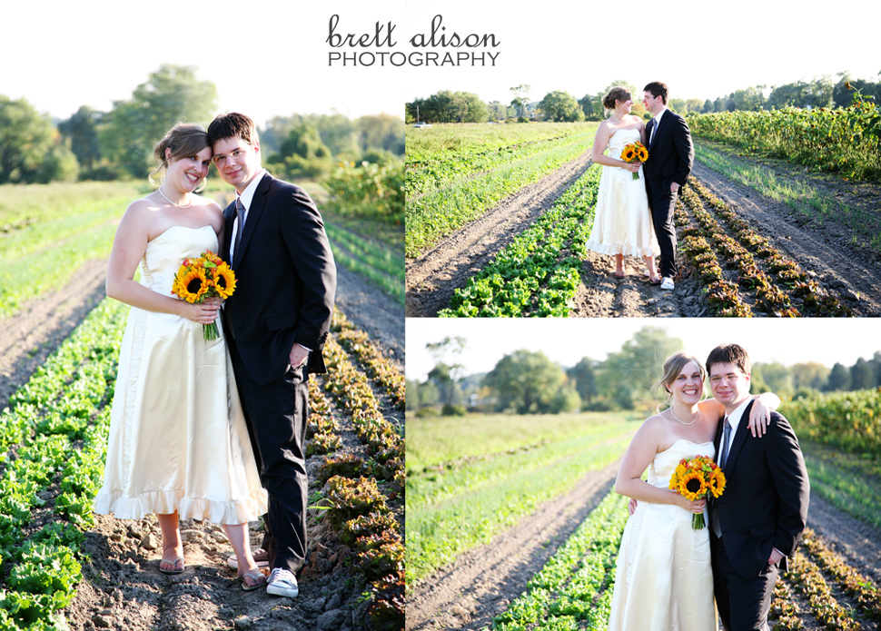 bride and groom at farm concord