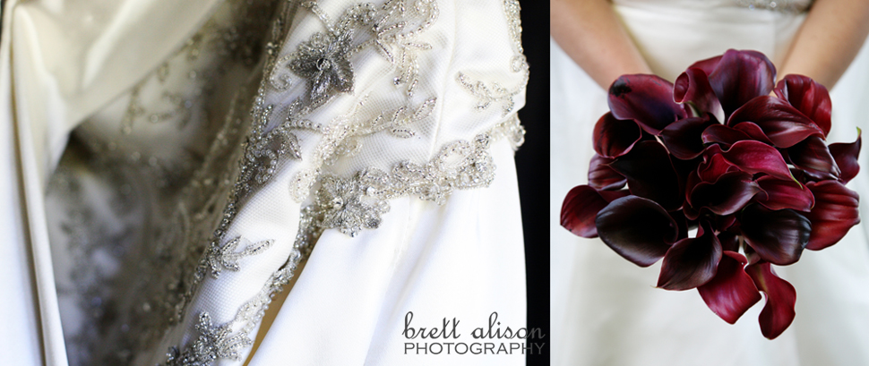 wedding dress and purple orchid details