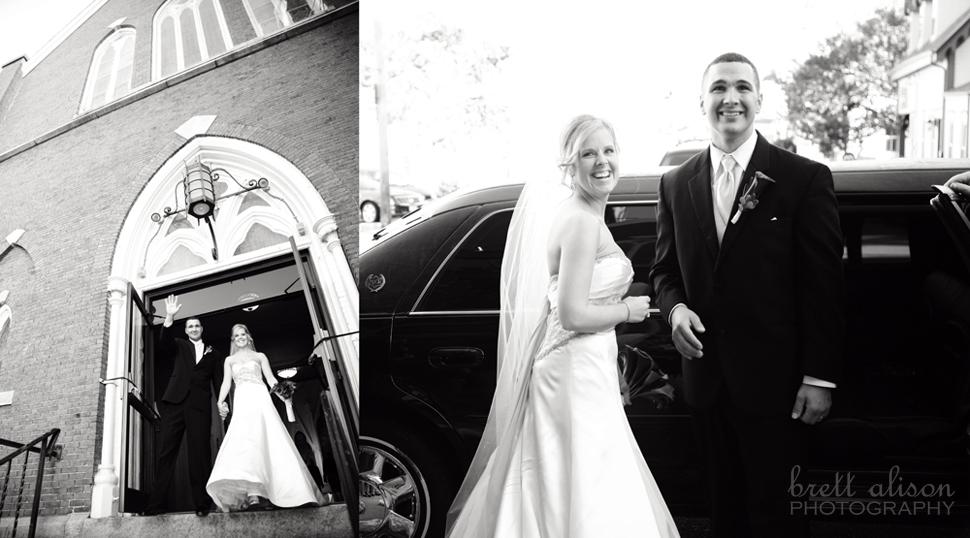 bride and groom exiting church photos