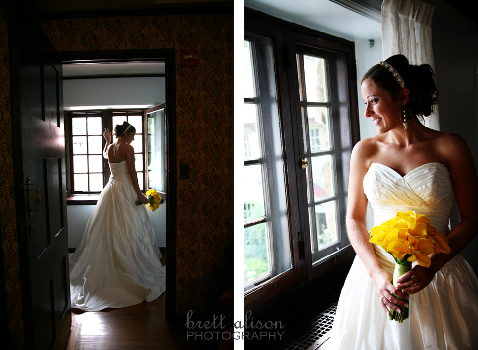 bride looking out window willowdale topsfield