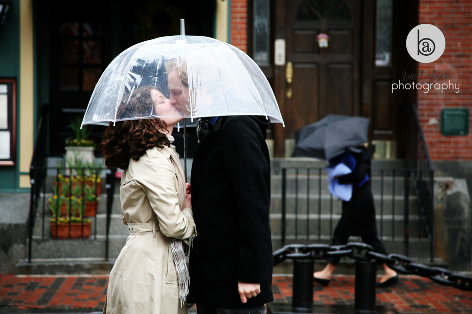 rainy engagement photos boston