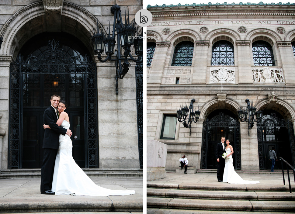 wedding photos in front of boston public library