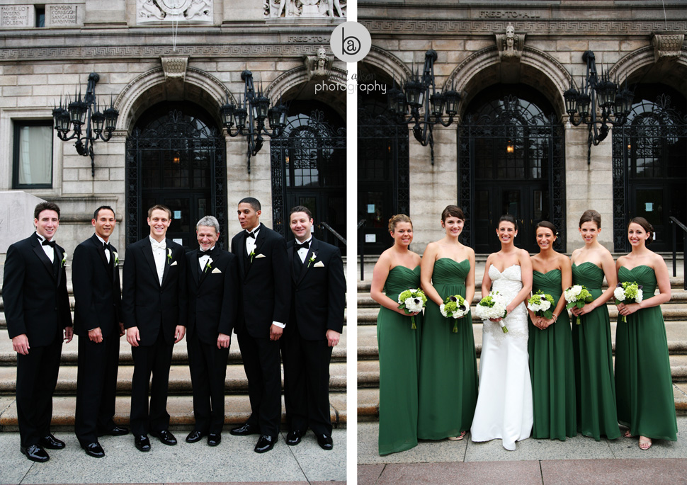 wedding party photos at boston public library