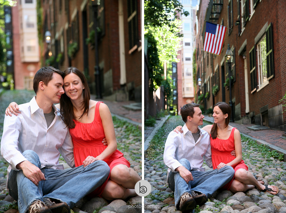 famous street boston engagement photos