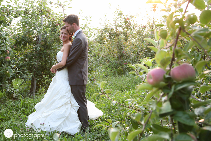 apple orchard wedding photo