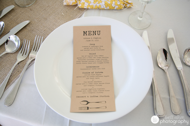 kraft wedding menu diy