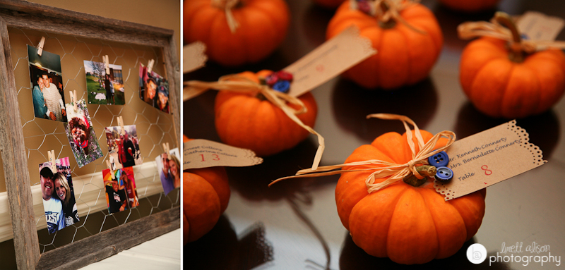 pumpkins wedding place holders