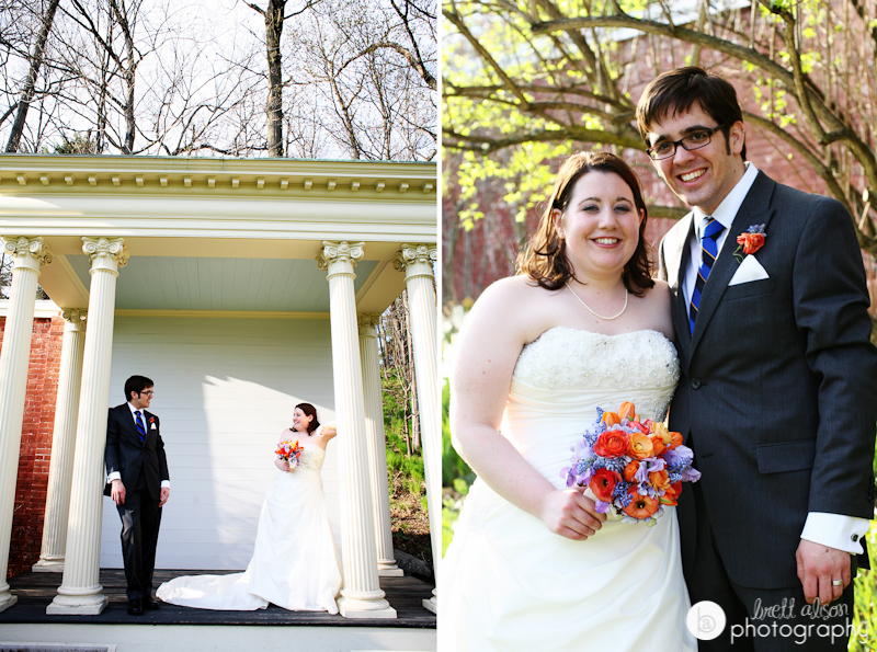 bride and groom photos outside lyman estate