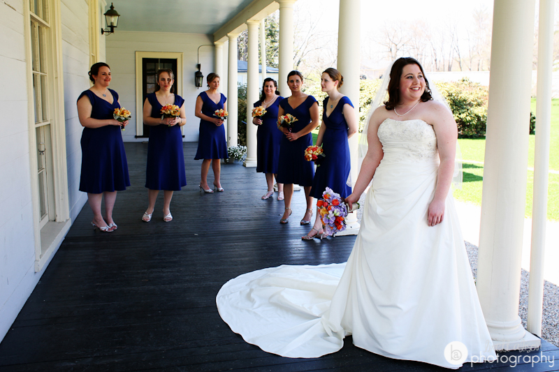 bridal party at lyman estate waltham wedding