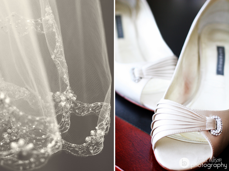 veil and shoes wedding details
