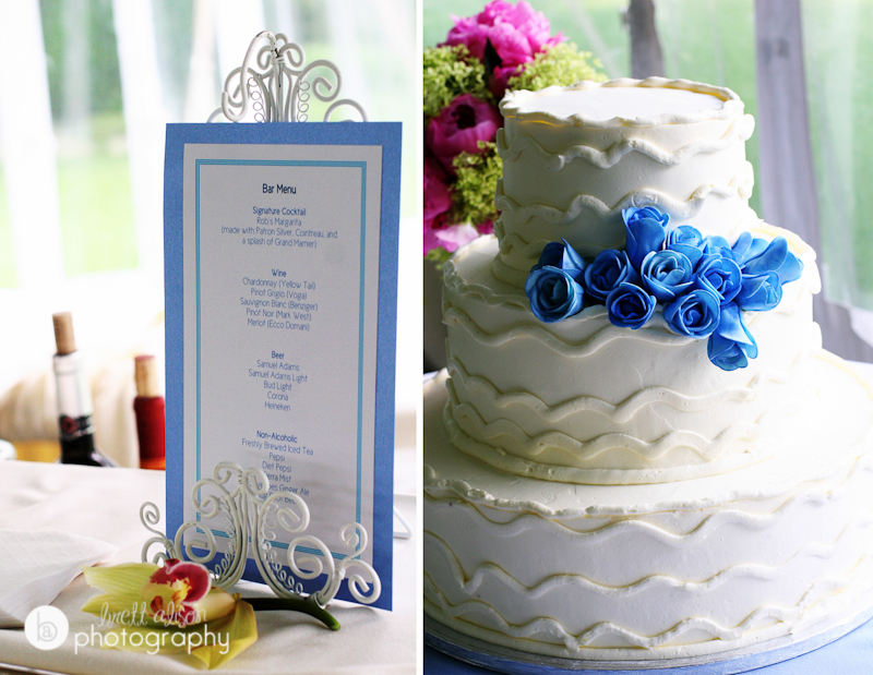 cocktail menu wedding blue flowers wedding cake
