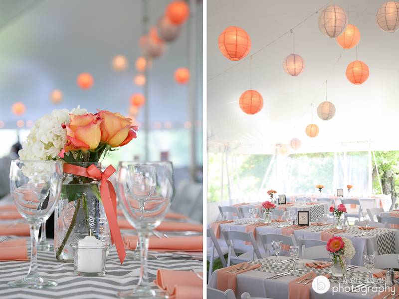 orange pink and grey wedding details