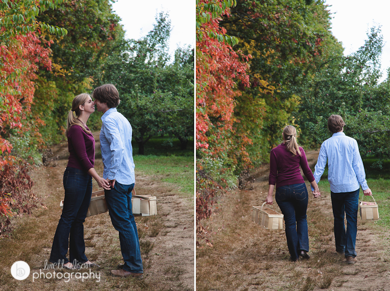 apple picking engagement session