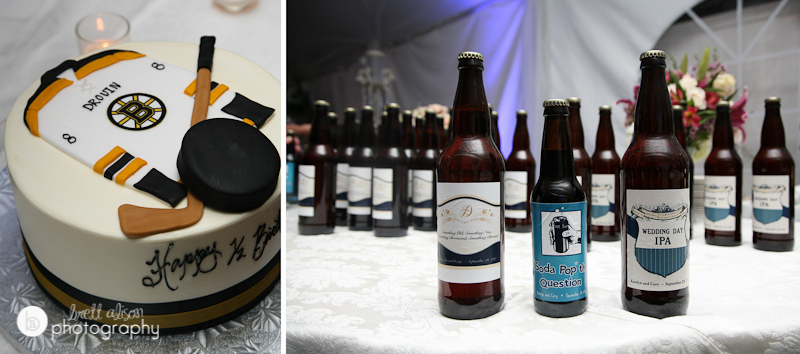 beer favors at wedding with hockey groom's cake