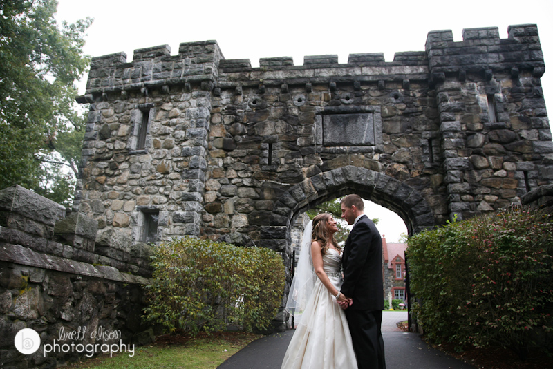 outside the main gate at searles castle wedding