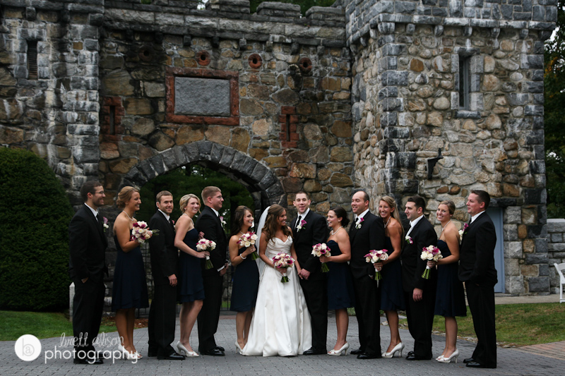 wedding party photos on the grounds of searles castle