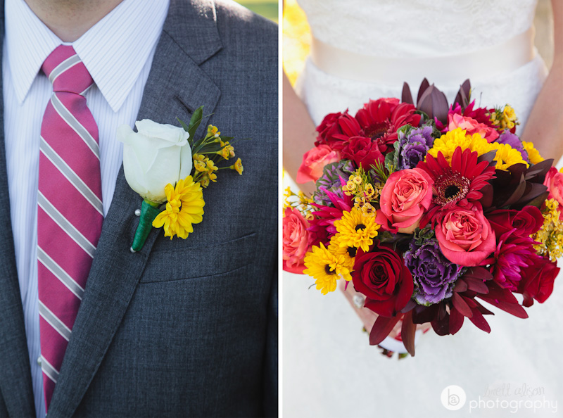 yellow and red autumn wedding flowers