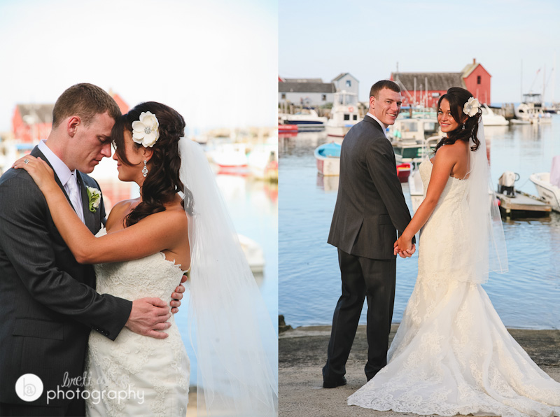 rockport wedding photos with motif 1 in background