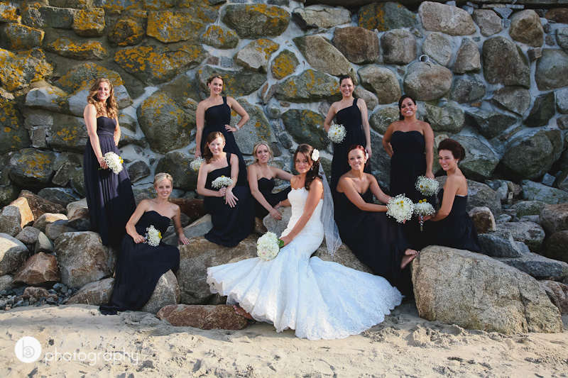 bride and bridesmaids on the beach in rockport