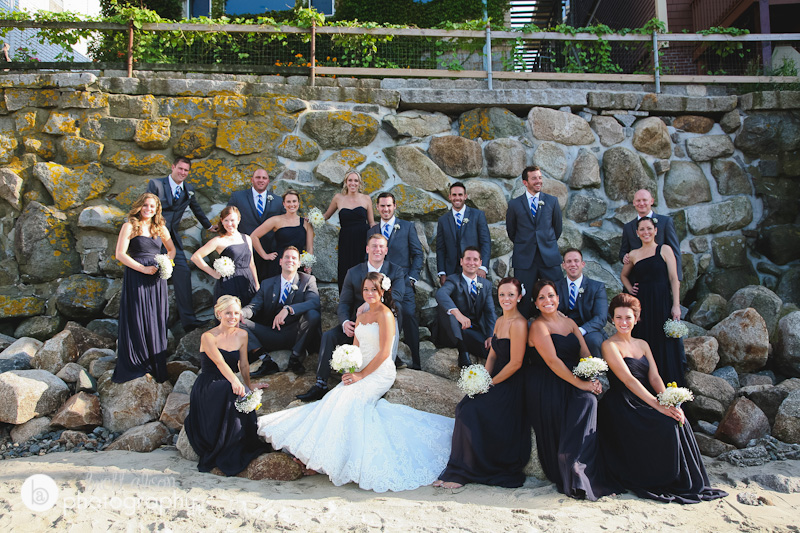 wedding party photos at beach in rockport massachusetts