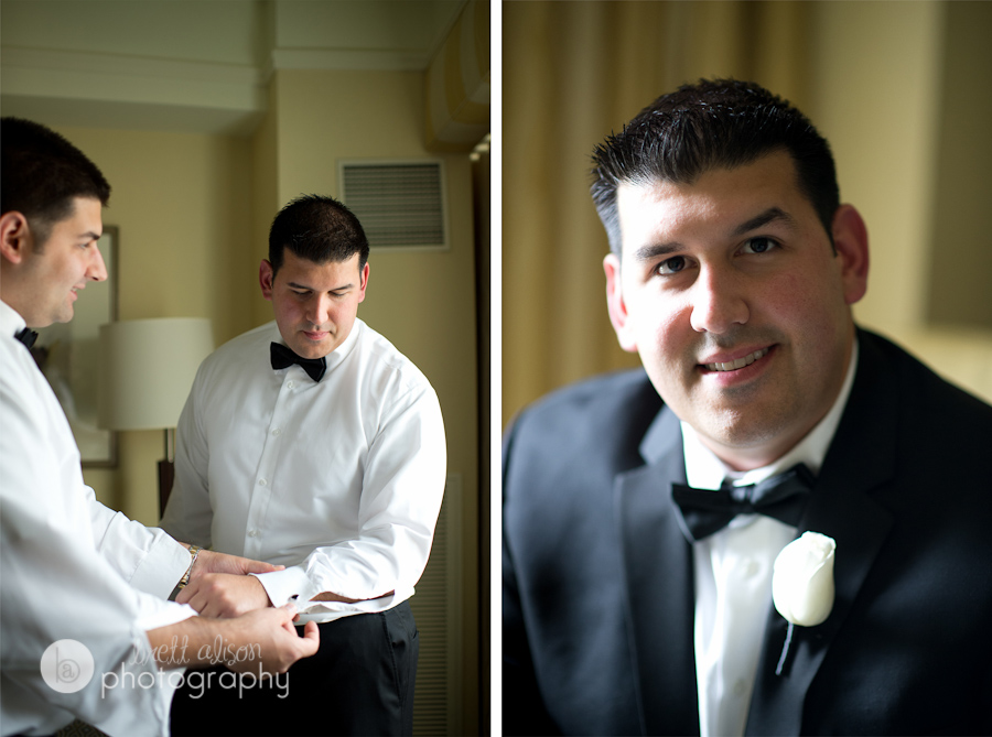 groom getting ready before ceremony ritz boston