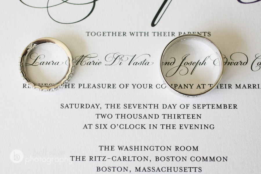 rings and invitation wedding details