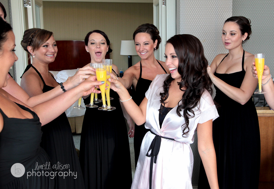 girls toasting in bridal suite ritz carlton boston
