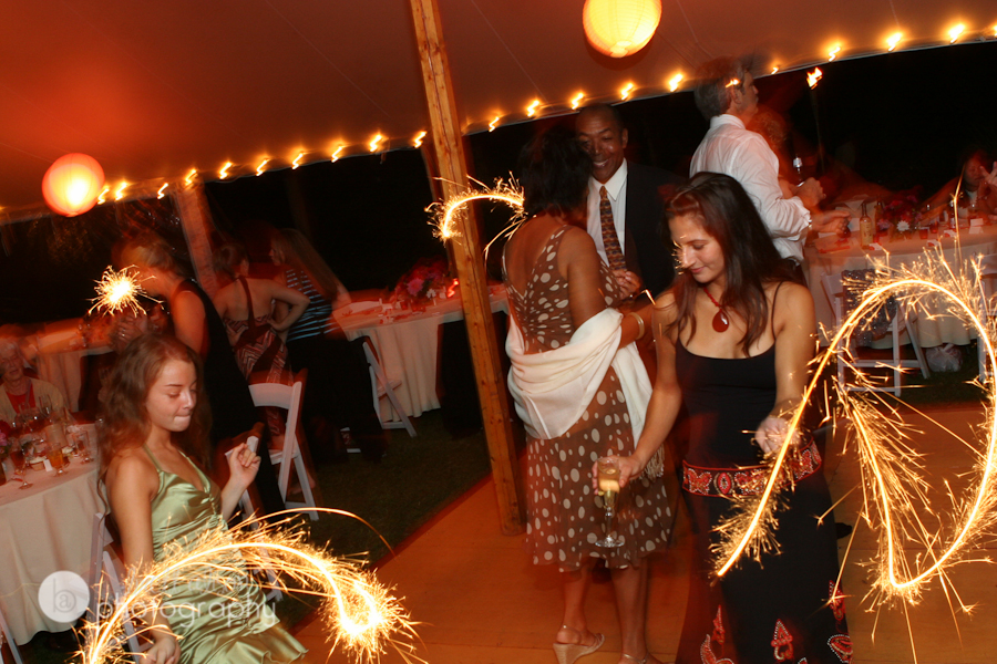 sparklers at wedding reception
