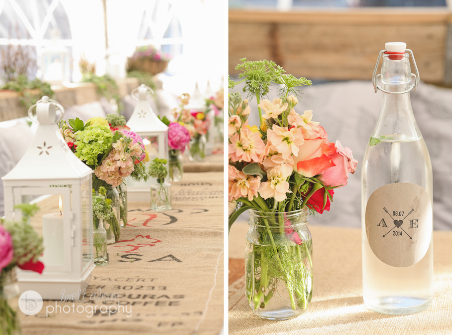 rustic wedding burlap and flowers