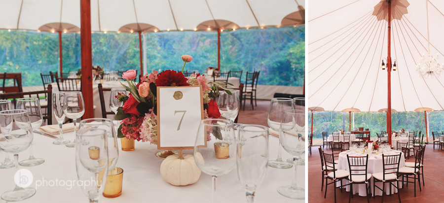 reception tent at willowdale estate