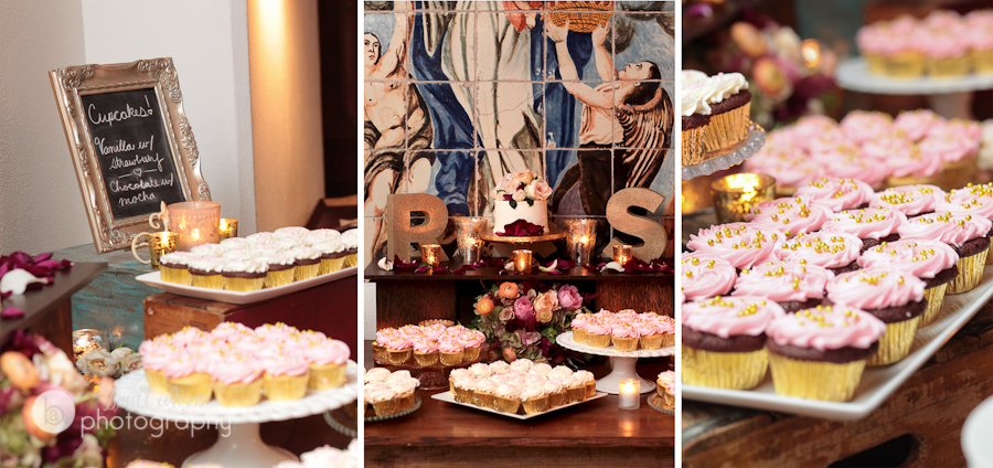 pink and white cupcakes wedding