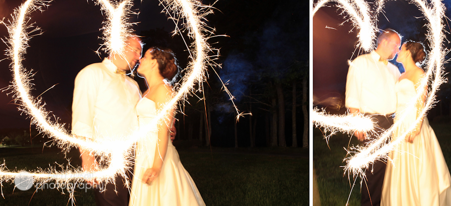 heart with sparklers at wedding